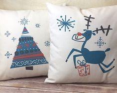 Christmas Pillow, Reindeer Pillow Cover, Christmas Tree Pillow, Retro Christmas Decor, Christmas Decor, Holiday Decor, Holiday Pillow