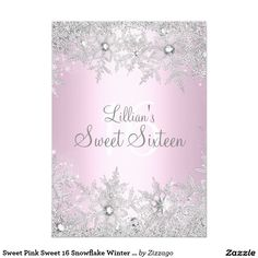 Sweet Pink Sweet 16 Snowflake Winter Wonderland 5x7 Paper Invitation Card