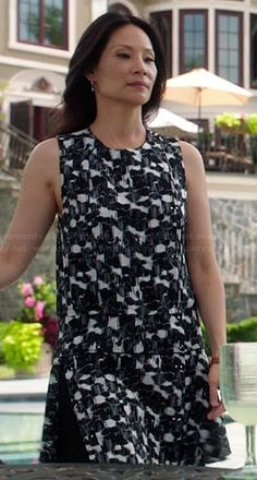 Joan's black and white abstract printed dress on Elementary.  Outfit Details: http://wornontv.net/39437/ #Elementary
