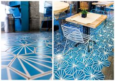 Floors and walls decorated with cement tiles Best Flooring, Kitchen Flooring, Exterior Design, Interior And Exterior, Floor Design, House Design, Master Bath Tile, Motif Art Deco, Home Decor Bedroom