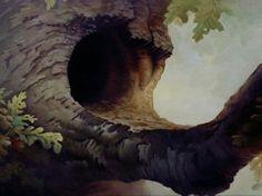 Animation Backgrounds: BAMBI -- Owl's Tree House