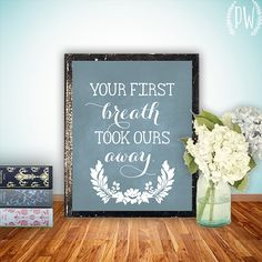 Nursery art print, printable quote wall decor, baby room, your first breath, custom digital typography on Etsy, $5.00