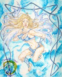 "The Winter Faerie - 8"" x 10"" Print - Seasonal Fairy Art - Fantasy Pin Up"