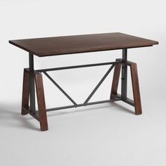 Wood Braylen Adjustable Height Work Table: Brown by World Market Table Office, Wood Office Desk, Office Desks, Bar Furniture, Home Office Furniture, Industrial Furniture, Industrial Bedroom, Industrial Table, Space Furniture