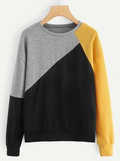 To find out about the Color-block Drop Shoulder Sweatshirt at SHEIN, part of our latest Sweatshirts ready to shop online today! Damen Sweatshirts, Sweatshirts Online, Hoodies, Cute Sweatshirts, Tokyo Street Fashion, Style Grunge, Fashion Colours, Look Cool, Fashion News