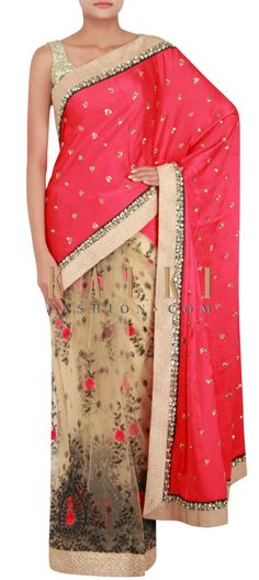 Buy Online from the link below. We ship worldwide (Free Shipping over US$100) http://www.kalkifashion.com/half-saree-in-red-and-beige-embellished-in-reham-and-sequin-only-on-kalki.html