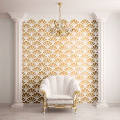 Scallop Shell Pattern Wall Stencil for Painting - contemporary - Wall Stencils - My Wonderful Walls