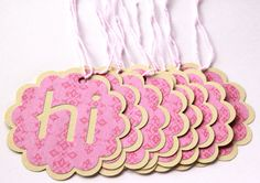20 Gift Tags - Hi   Hello   Pink   Yellow   Baby Shower   Bridal Shower   Birthday   Party Favor