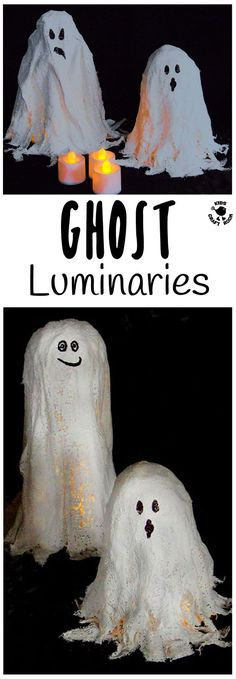 GHOST LUMINARIES - Make DIY Mod Roc Ghost Lights. A fun and different Halloween lantern craft idea great for little and big kids.