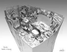 """jimjam-art:  Her's some more Big Hero 6 concept art. I worked on the sets for the Campus Tech building and the interior labs of the """"Nerd School"""". It was always part of Hiro's story that he was a genius kid, but messy. The top drawing is for the Lab he shared with Tadashi in an earlier form of the story, and the bottom is his horribly cluttered desk space. In an earlier version of this drawing he had manga pinned up, but it got changed to bees and ants. Supposedly he's studying bees…"""
