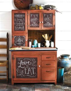 Featuring FolkArt® Home Decor Chalk, A Beginner's Guide to Chalk Painting teaches you how to transform everyday items into one-of-a-kind treasures. Refurbished Furniture, Farmhouse Furniture, Repurposed Furniture, Furniture Makeover, Painted Furniture, Farmhouse Decor, Furniture Projects, Furniture Making, Diy Furniture