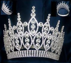 Queen of The 7 Seas RHINESTONE BEAUTY PAGEANT ADJUSTABLE SILVER CROWN – DIMENSIONS: 5 Inches tall with 7inches wide 3 rowscontoured band for perfect fit
