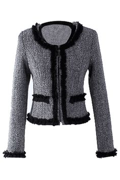 Gray & Black Boucle Jacket