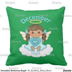 December Birthstone Angel - Turquoise Throw Pillow