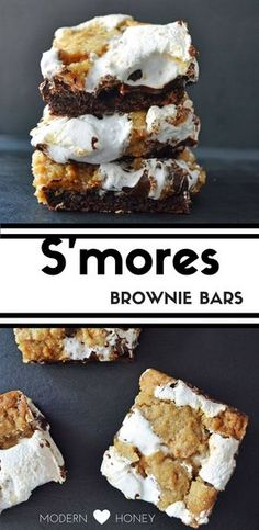 Homemade S'mores Brownie Bars made with rich chocolate brownies, graham cracker . - Homemade S'mores Brownie Bars made with rich chocolate brownies, graham cracker cookie dough, mar - Smores Brownies, Brownie Bar, Chocolate Brownies, Chocolate Desserts, Easy Desserts, Dessert Recipes, Bar Recipes, Chocolate Truffles, Homemade Chocolate