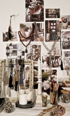 Physical mood board warm neutrals, timber and grey.