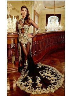 Sexy Long Sleeves Gold Lace Appliques Black See Through Prom Dresses Party Evening Gowns 99602332