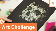 Art Challenge 4: Bones, Glitter, Black