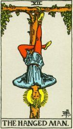 The Hanged Man symbolizes the willingness to be self-sacrificing.  This card represents taking a step back and letting others lead themselves.  The Hanged Man is classically associated with sages and those contemplating the way to a more fulfilling spiritual life.