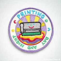 Printing Day And Night Iron On Patch by BelsArt on Etsy https://www.etsy.com/listing/243595421/printing-day-and-night-iron-on-patch