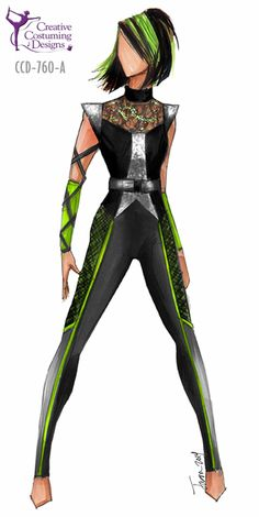 CCD-760-A DESCRIPTION: one piece tight leg unitard, detail continues to back, zipper back, two gauntlets, separate belt BASE PRICE: $139.50