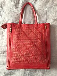 LWM-220115  Elegant large mesh tote style bag, 38cm high, 32cm wide and 11cm depth. This bag features inside pockets with zipper on one side and a cell phone separated pocket on the other side. As shown its our cognac  - we are able to produce this in other colors.