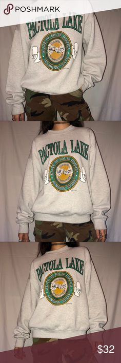 Vintage Sweatshirt 🐉 Vintage Pactola Lake South Dakota Sweatshirt Size: L  Fruit Of The Loom Label! Shows light signs of wear on sleeve cuffs & has two minor stains on front but otherwise in great condition! See second to last photo to best see minor stains. Vintage Sweaters Crew & Scoop Necks