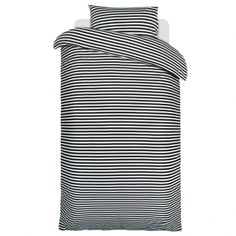 Marimekko Tasaraita duvet cover and pillow case, black-white (material: soft tricot)