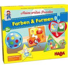 Meine ersten Puzzles – Farben & Formen | Kinderpuzzles | Spiele & Bücher | HABA - Erfinder für Kinder Frosted Flakes, Puzzles, Shapes, Products, Inventors, Kids Hands, Game Pieces, Wooden Figurines, Cardboard Paper