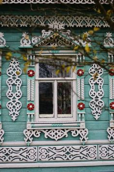 Russian wooden house in the town of Uglich. Window with openwork carved decorations. #Russia #wooden #house