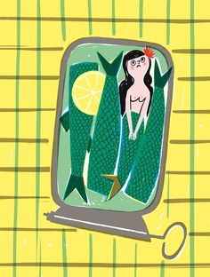 Carnet Imaginaire sadly whimsical cartoon illustration of a mermaid caught in a sardine  can..... could be a statement of the feeling of being trapped by domesticity