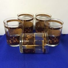 Georges-Briard-Set-of-Five-5-Double-Old-Fashioned-Rocks-Glasses-Brown-Gold