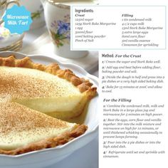 Milk tart-a South African food that I L-O-V-E! *swap out the ghastly margarine…