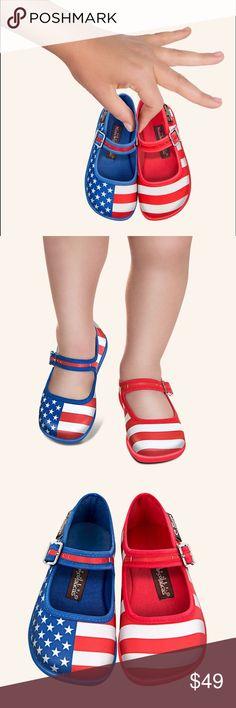 Hot Chocolate Design Mary Jane Flats USA Flag Adorable USA theme Mary Jane flats. Washable fabric. Size 12.5 Hot Chocolate Design Shoes