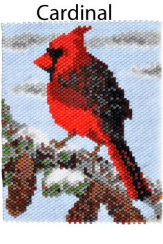 """Beading pattern for a cardinal in winter from """"Bird Patterns in Peyote Stitch"""" by Sheila Root"""