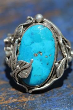 Vintage Signed Southwestern Tribal Sterling Silver Applique & Turquoise Ring