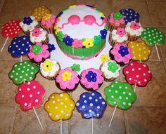 Hula/ Luau birthday  cake, cupcakes, cookie pops