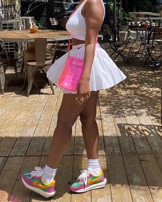 """@compoundcommunity on Instagram: """"Pretty girls don't cry , they get fly 💕"""" Dress Skirt, Skater Skirt, American Teen, Sporty Chic, Pretty Girls, Love Fashion, Cheer Skirts, High Waisted Skirt, Street Wear"""