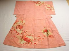 Japanese Antique Kimono Silk Pink Folding Fan Flower P071015   eBay