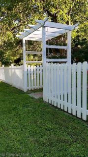 Garden Ideas Discover White Picket Fence is DONE! It was a big job but my white picket fence is done. This fence is totally DIY no panels each board cut individually and it turned out perfect. Privacy Landscaping, Privacy Fences, Outdoor Privacy, Outdoor Sheds, Landscaping Ideas, Garden Arbor, Garden Fencing, Horse Fencing, Backyard Fences