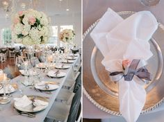 pink and gray centerpieces,  photo by www.rusticwhitephotography.com,