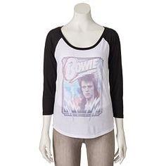 Juniors' David Bowie Lightning Bolt Raglan T-Shirt