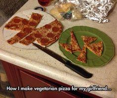 Vegetarische Pizza für die Freunding.