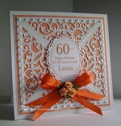 Peach / Orange 60th Birthday Card using #Spellbinders #Gold Elements and #Floral Ovals
