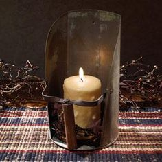 Barn scoop candle holder