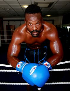 Dereck Chisora poses during a media workout at Hooks Gym in London on July 16, 2013 in London, England.