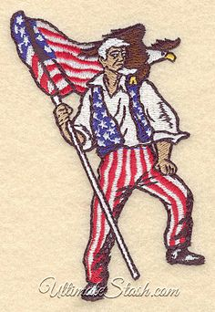 Uncle Sam with American Flag and Eagle Machine Embroidery Design