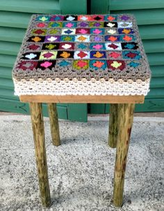Items similar to handmade recycled wood stool or coffee table & granny crochet cover on Etsy Wood Stool, Recycled Wood, Hula, Recycling, Coffee, Crochet, Table, Handmade, Home Decor