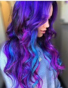60 New Color Hairstyles Ideas in 2019 Rainbow Hairstyles, Purple Hair Highlights, Hair Dye, Style Ideas, Hair Makeup, Hair Color, Stylists, Long Hair Styles, Nails