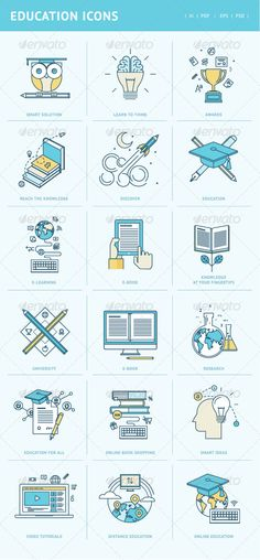 Buy Flat Line Icons for Education by PureSolution on GraphicRiver. Set of modern flat line concept icons for a wide range of services: Education, E-Learning, E-Book, Online Training, U. Web Design, Line Design, Icon Design, Flat Design, Design Art, Design Ideas, Online Book Shopping, Stickers Design, Education Icon